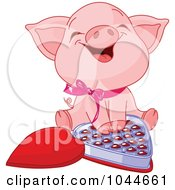 Royalty Free RF Clip Art Illustration Of A Cute Piglet Laughing Over A Box Of Valentines Day Chocolates