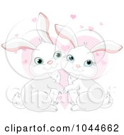 Royalty Free RF Clip Art Illustration Of A Loving Rabbit Pair Over Pink Hearts