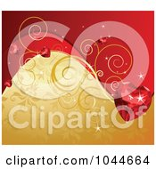 Royalty Free RF Clip Art Illustration Of A Ruby Heart Over A Red And Gold Floral Background by Pushkin