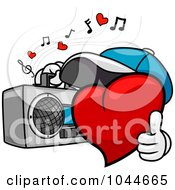 Royalty Free RF Clip Art Illustration Of A Heart Character Carrying A Boom Box