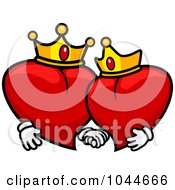 Royalty Free RF Clip Art Illustration Of King And Queen Hearts Holding Hands