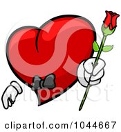 Royalty Free RF Clip Art Illustration Of A Romantic Heart Character Holding Out A Rose by BNP Design Studio