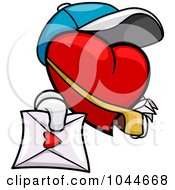 Royalty Free RF Clip Art Illustration Of A Heart Mail Man Holding Out A Love Letter by BNP Design Studio