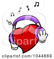 Royalty Free RF Clip Art Illustration Of A Heart Wearing Headphones And Listening To Music by BNP Design Studio