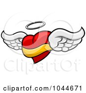 Royalty Free RF Clip Art Illustration Of A Winged Heart Angel With A Halo And Banner