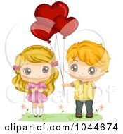 Royalty Free RF Clip Art Illustration Of A Sweet Boy Giving His Girlfriend Valentine Heart Balloons by BNP Design Studio