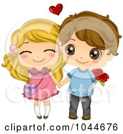 Royalty Free RF Clip Art Illustration Of A Cute Boy And Girl Holding Hands The Boy With A Flower
