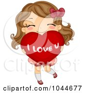 Royalty Free RF Clip Art Illustration Of A Cute Girl Carrying A Big I Love U Heart