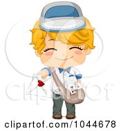Royalty Free RF Clip Art Illustration Of A Cute Boy Deliverying A Love Letter by BNP Design Studio