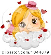 Royalty Free RF Clip Art Illustration Of A Cute Blond Girl Resting On A Cloud With Hearts by BNP Design Studio
