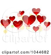 Royalty Free RF Clip Art Illustration Of Shiny Red Heart Balloons And Colorful Dots