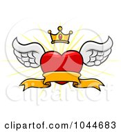 Royalty Free RF Clip Art Illustration Of A Winged Heart Banner With A Crown And Burst by BNP Design Studio