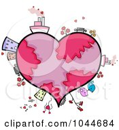 Royalty Free RF Clip Art Illustration Of A Heart Earth With Buildings Transportation And Animals