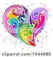 Royalty Free RF Clip Art Illustration Of A Colorful Rainbow Swirl Heart by BNP Design Studio
