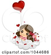 Royalty Free RF Clip Art Illustration Of A Cute Brunette Girl Resting On A Cloud With A Heart Balloon