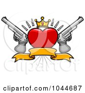 Royalty Free RF Clip Art Illustration Of A Heart Banner With A Crown And Guns