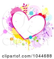 Royalty Free RF Clip Art Illustration Of A Colorful Splatter Heart Frame by BNP Design Studio