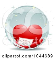 Royalty Free RF Clip Art Illustration Of A Valentines Day Card And Hearts Inside A Crystal Ball by BNP Design Studio
