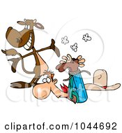 Royalty Free RF Clip Art Illustration Of A Cartoon Cow Presenting A Roped Up Cowboy by toonaday