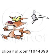 Royalty Free RF Clip Art Illustration Of A Cartoon Can Flying At A Cat by toonaday