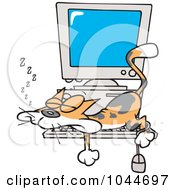 Royalty Free RF Clip Art Illustration Of A Cartoon Calico Cat Napping On A Keyboard