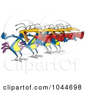 Royalty Free RF Clip Art Illustration Of Cartoon Four Birds Calling by toonaday