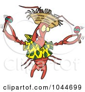 Royalty Free RF Clip Art Illustration Of A Cartoon Lobster Shaking Maracas by toonaday