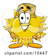 Clipart Picture Of A Sun Mascot Cartoon Character Wearing A Helmet by Toons4Biz