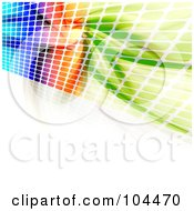Colorful Wall Of Equalizer Dots And Fractals On White