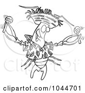 Royalty Free RF Clip Art Illustration Of A Cartoon Black And White Outline Design Of A Lobster Shaking Maracas by toonaday