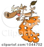 Royalty Free RF Clip Art Illustration Of A Cartoon Cow Running On Cheese