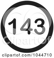 Royalty Free RF Clip Art Illustration Of A Black And White Round 143 I Love You Text Message Icon