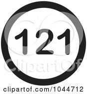 Royalty Free RF Clip Art Illustration Of A Black And White Round 121 Text Message Icon