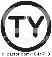 Royalty Free RF Clip Art Illustration Of A Black And White Round TY Thank You Text Message Icon