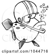 Royalty Free RF Clip Art Illustration Of A Cartoon Black And White Outline Design Of A Football Fish Wearing A Helmet