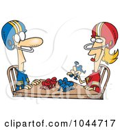 Royalty Free RF Clip Art Illustration Of A Cartoon Husband And Wife Playing Table Football by toonaday