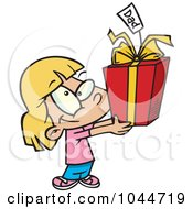 Royalty Free RF Clip Art Illustration Of A Cartoon Cute Girl Holding A Fathers Day Gift by toonaday