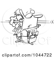 Royalty Free RF Clip Art Illustration Of A Cartoon Black And White Outline Design Of A Person Flying By A Businessman