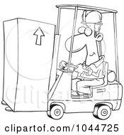 Royalty Free RF Clip Art Illustration Of A Cartoon Black And White Outline Design Of A Forklift Operator Moving A Box