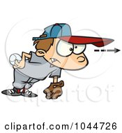 Royalty Free RF Clip Art Illustration Of A Cartoon Focused Boy Pitching A Baseball