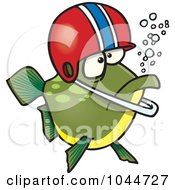 Royalty Free RF Clip Art Illustration Of A Cartoon Football Fish Wearing A Helmet by toonaday