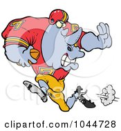 Royalty-Free (RF) Clip Art Illustration of a Cartoon Football Rhino Running by Ron Leishman