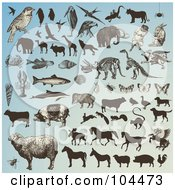 Royalty Free RF Clipart Illustration Of A Digital Collage Of Animals And Animal Silhouettes On Blue by Anja Kaiser