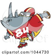 Royalty Free RF Clip Art Illustration Of A Cartoon Football Rhino by toonaday
