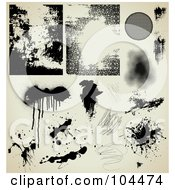Digital Collage Of Grungy Black Ink Splatters Drips Scribbles And Textures On Antique Beige