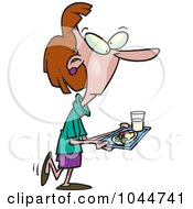 Royalty Free RF Clip Art Illustration Of A Cartoon Woman Carrying Cafeteria Food