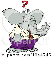 Royalty Free RF Clip Art Illustration Of A Cartoon Reminder String On A Forgetful Elephants Finger by toonaday