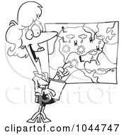 Royalty Free RF Clip Art Illustration Of A Cartoon Black And White Outline Design Of A Weather Girl Reading The Forecast by toonaday