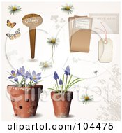Royalty Free RF Clipart Illustration Of A Digital Collage Of Potted Spring Flowers A Garden Tag Daisies And Other Tags by Anja Kaiser