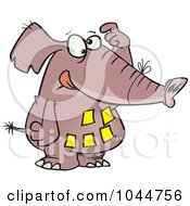 Royalty Free RF Clip Art Illustration Of A Cartoon Forgetful Elephant With Notes On His Belly